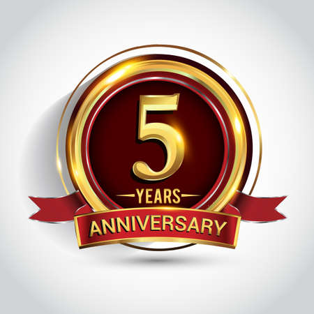 5th golden anniversary logo with ring and red ribbon isolated on white background