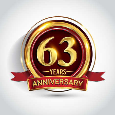 63rd golden anniversary logo with ring and red ribbon isolated on white background Stockfoto - 151059740