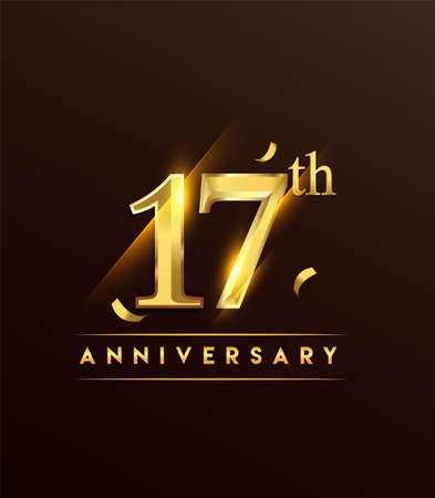 17th anniversary glowing logotype with confetti golden colored isolated on dark background, vector design for greeting card and invitation card.