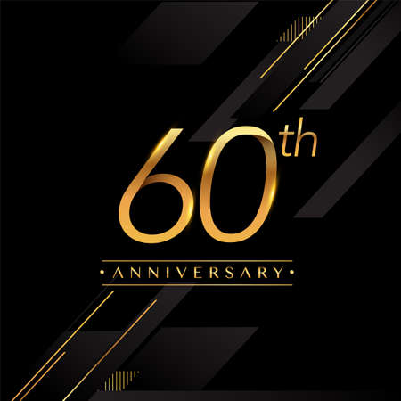 60th anniversary golden colored isolated on black background, vector design for greeting card and invitation card. Stock Illustratie