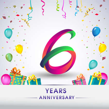 6th Anniversary Celebration Design, with gift box, balloons and confetti, Colorful Vector template elements for birthday celebration party.