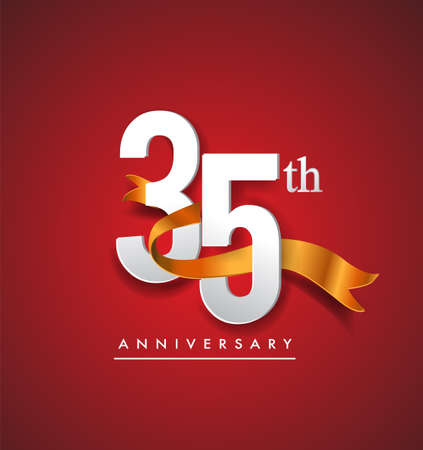 35th anniversary with golden ribbon isolated on red elegance background, vector design for birthday celebration, greeting card and invitation card. Stockfoto - 151072440