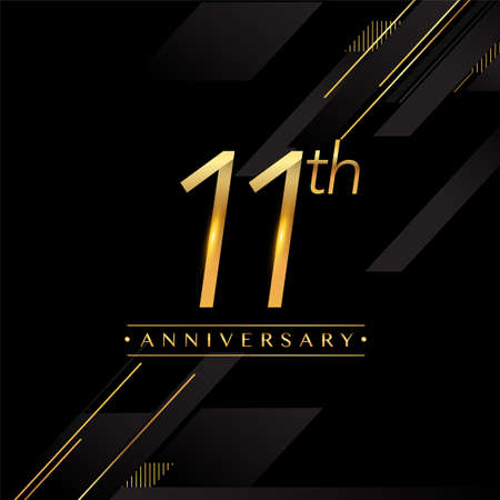 11th anniversary golden colored isolated on black background, vector design for greeting card and invitation card. Stock Illustratie