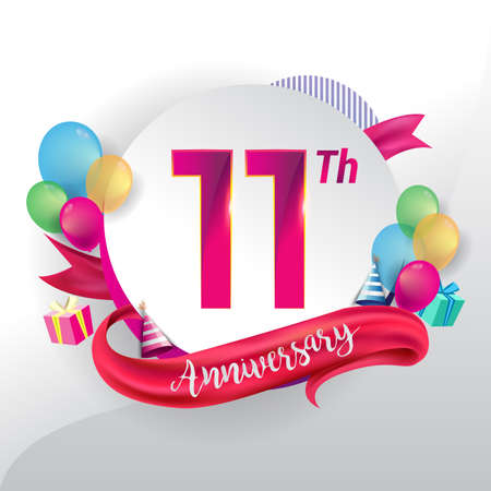 11th Anniversary logo with ribbon, balloon, and gift box isolated on circle object and colorful background