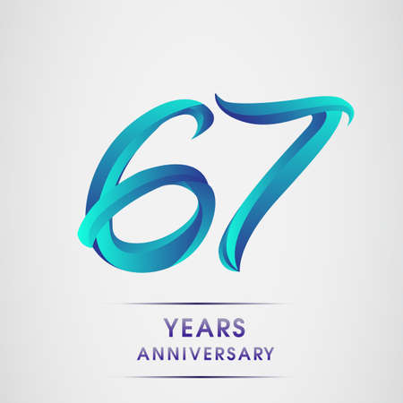 67th Anniversary celebration logotype blue colored isolated on white background. Design for invitation card, banner and greeting card ЛОГОТИПЫ