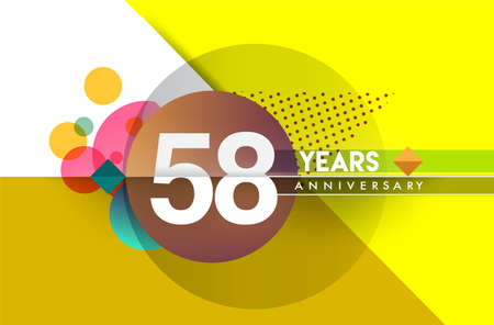 58th years anniversary, vector design birthday celebration with colorful geometric background and circles shape. Çizim