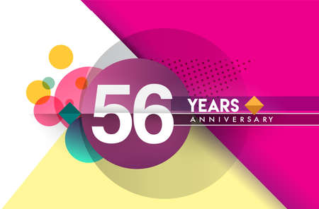 56th years anniversary, vector design birthday celebration with colorful geometric background and circles shape.
