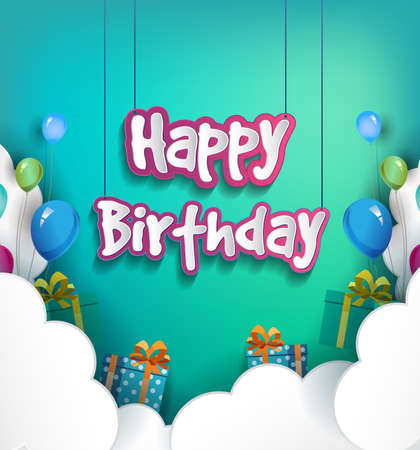 Happy Birthday vector design for greeting cards with balloon and clouds, vector illustration for birthday celebration
