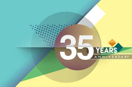 35th years anniversary, vector design birthday celebration with colorful geometric background and circles shape.