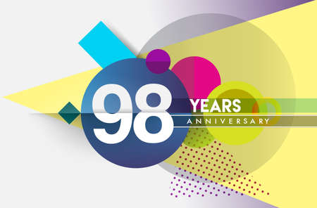 98th years anniversary, vector design birthday celebration with colorful geometric background and circles shape. Çizim