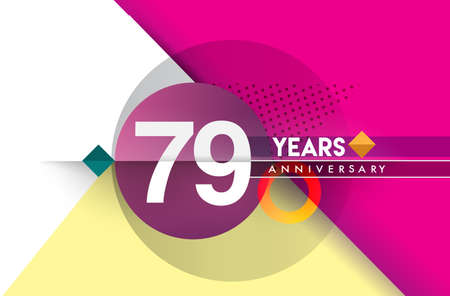 79th years anniversary, vector design birthday celebration with colorful geometric background and circles shape. Çizim