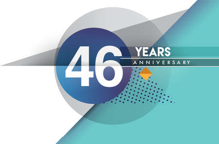 46th years anniversary, vector design birthday celebration with colorful geometric background and circles shape.