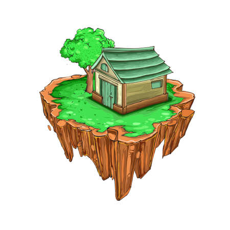 Flying island with grass and house, tree, vector backdrop element