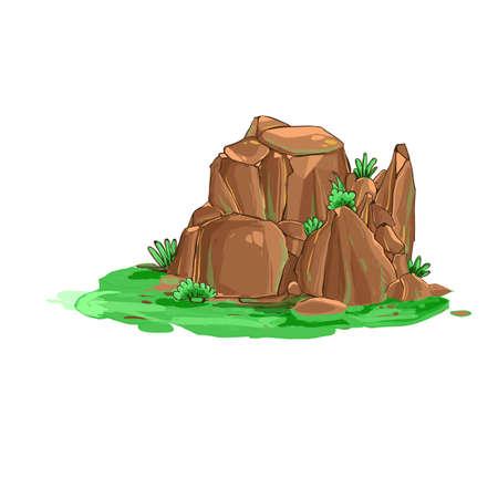 summer landscape background banner, with tree, green grass, and cliff Illusztráció