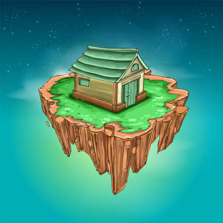 Flying island with grass and house, vector backdrop element
