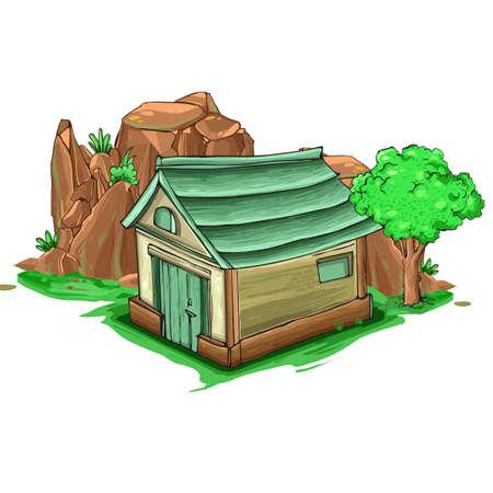 Illustration of a cartoon house and cliff Ilustração