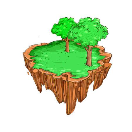 Flying island with grass and tree, vector backdrop element