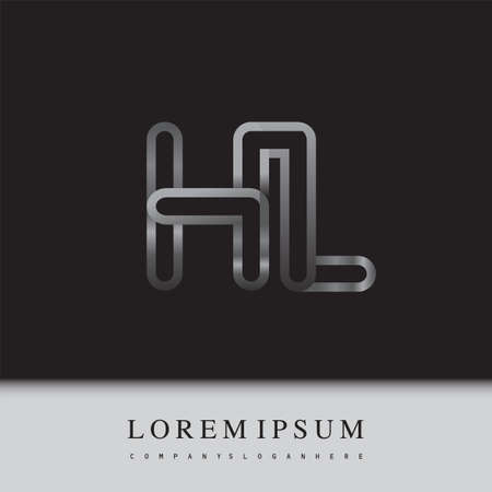 initial logo letter HL, linked outline silver colored, rounded logotype Logo