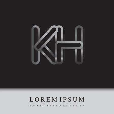 initial logo letter KH, linked outline silver colored, rounded logotype
