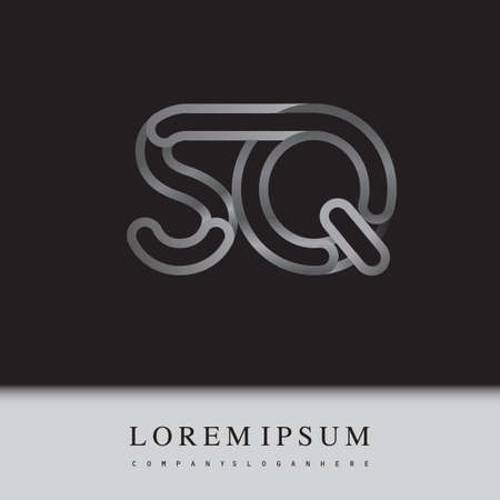 initial logo letter SQ, linked outline silver colored, rounded logotype