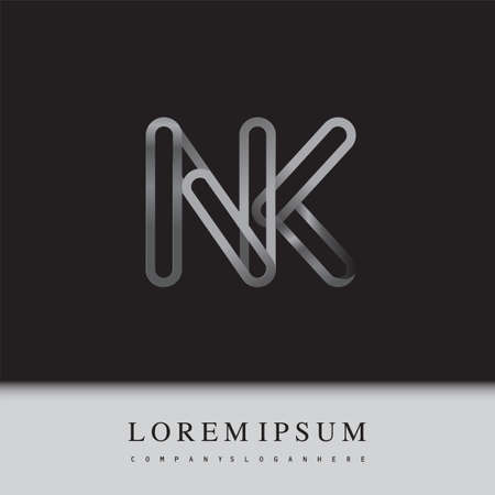 initial logo letter NK, linked outline silver colored, rounded logotype