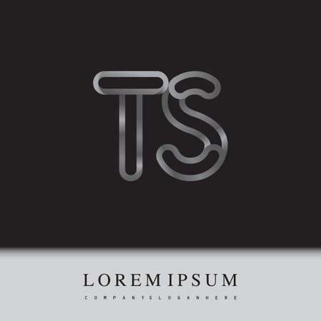 initial logo letter TS, linked outline silver colored, rounded logotype Logó