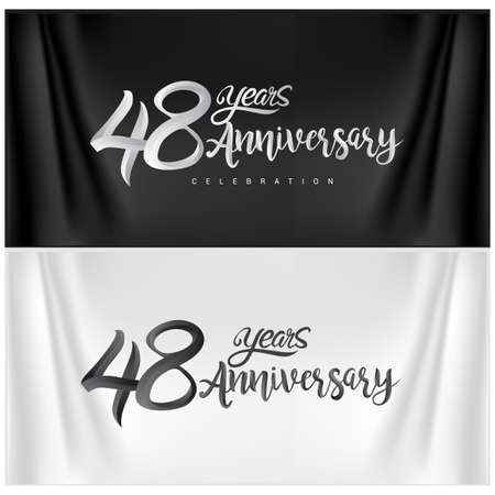 48th Anniversary Celebration. Anniversary handmade Calligraphy. Vector design for invitation card, banner and greeting card