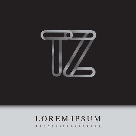 initial logo letter TZ, linked outline silver colored, rounded logotype Logó