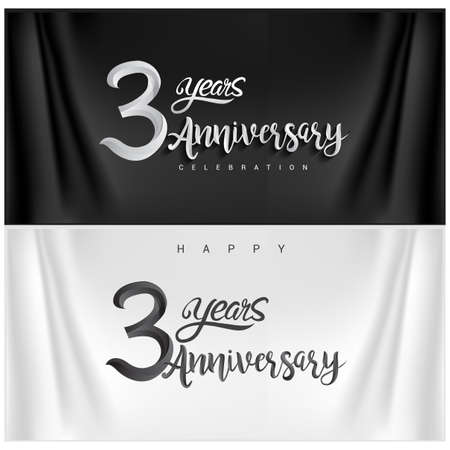 3rd Anniversary Celebration. Anniversary handmade Calligraphy. Vector design for invitation card, banner and greeting card 免版税图像