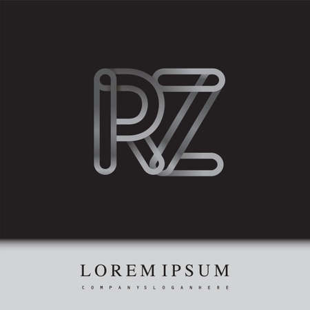 initial logo letter RZ, linked outline silver colored, rounded logotype