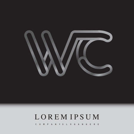 initial logo letter WC, linked outline silver colored, rounded logotype Logo