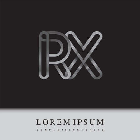 initial logo letter RX, linked outline silver colored, rounded logotype Logo