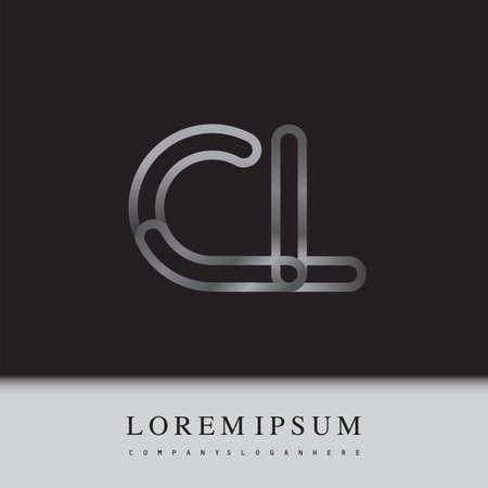 initial logo letter CL, linked outline silver colored, rounded logotype