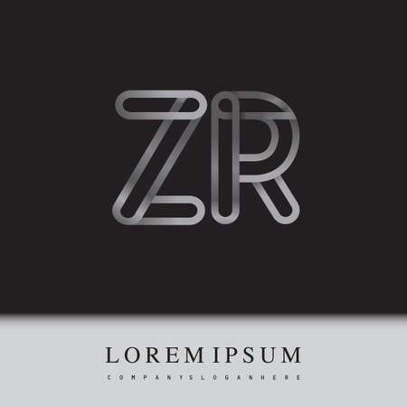initial logo letter ZR, linked outline silver colored, rounded logotype Logó