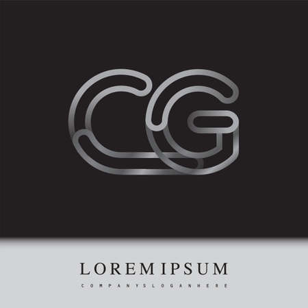 initial letter CG, linked outline silver colored, rounded