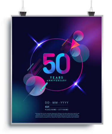50th Years Anniversary Logo with Colorful Abstract Geometric background, Vector Design Template Elements for Invitation Card and Poster Your Birthday Celebration. Logo