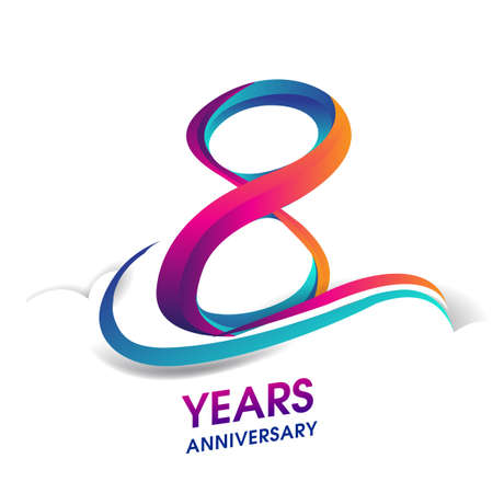 8th anniversary celebration logotype blue and red colored, isolated on white background.