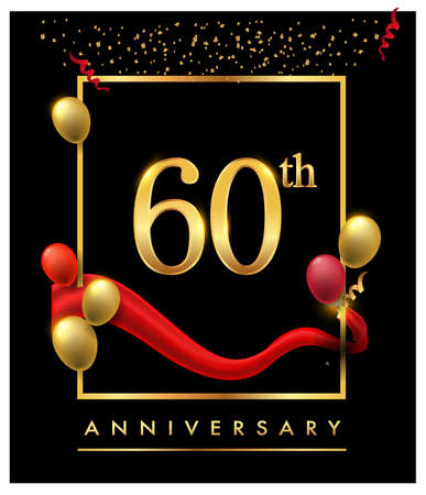 60th anniversary logo with red ribbon and confetti golden colored isolated on elegant background, vector design for greeting card and invitation card