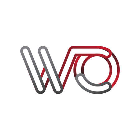 initial logo letter WO, linked outline red and grey colored, rounded logotype