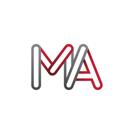 initial logo letter MA, linked outline red and grey colored, rounded logotype