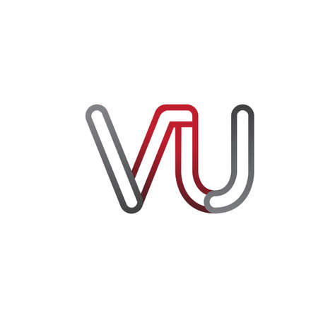 initial logo letter VU, linked outline red and grey colored, rounded logotype