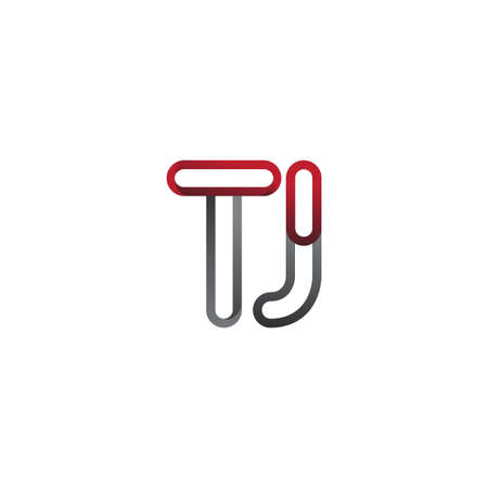 initial logo letter TJ, linked outline red and grey colored, rounded logotype Logó