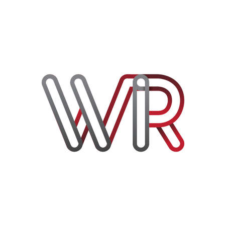 initial logo letter WR, linked outline red and grey colored, rounded logotype