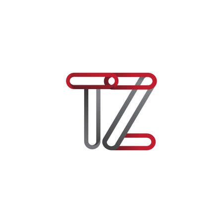 initial logo letter TZ, linked outline red and grey colored, rounded logotype