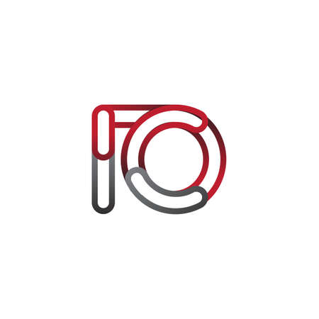 initial logo letter IO, linked outline red and grey colored, rounded logotype