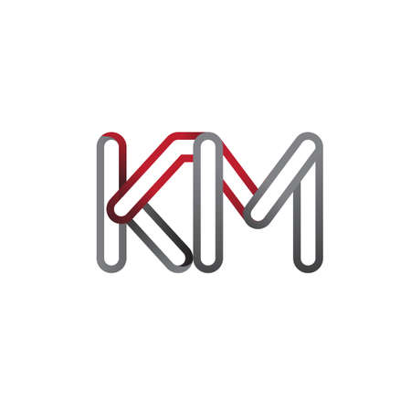 initial logo letter KM, linked outline red and grey colored, rounded logotype Logó