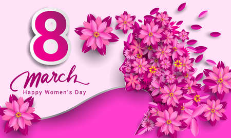 8 March. pink Floral Greeting card. International Happy Women's Day. Paper cut flower pink holiday background with space for text. Trendy Design Template. Vector illustration Vector Illustration