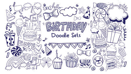 Happy Birthday background. Hand-drawn Birthday sets, party blowouts, party hats, gift boxes and bows, garlands and balloons and firework, candles on birthday pie.