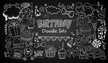 Happy Birthday background. Hand-drawn Birthday sets, party blowouts, party hats, gift boxes and bows. vector illustration chalk texture isolated on black background Vecteurs