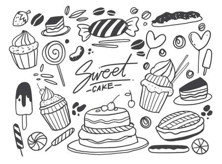 Set of drawings on the theme cakes. Cakes, pies, bread, Desserts, sweets, ice cream, muffin and other confectionery products. vector illustration